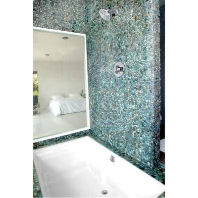 River Rock Turquoise 12 in. x 12 in. x 12.7 mm Natural Stone Pebble Mosaic Floor and Wall Tile (10 sq. ft. / case)