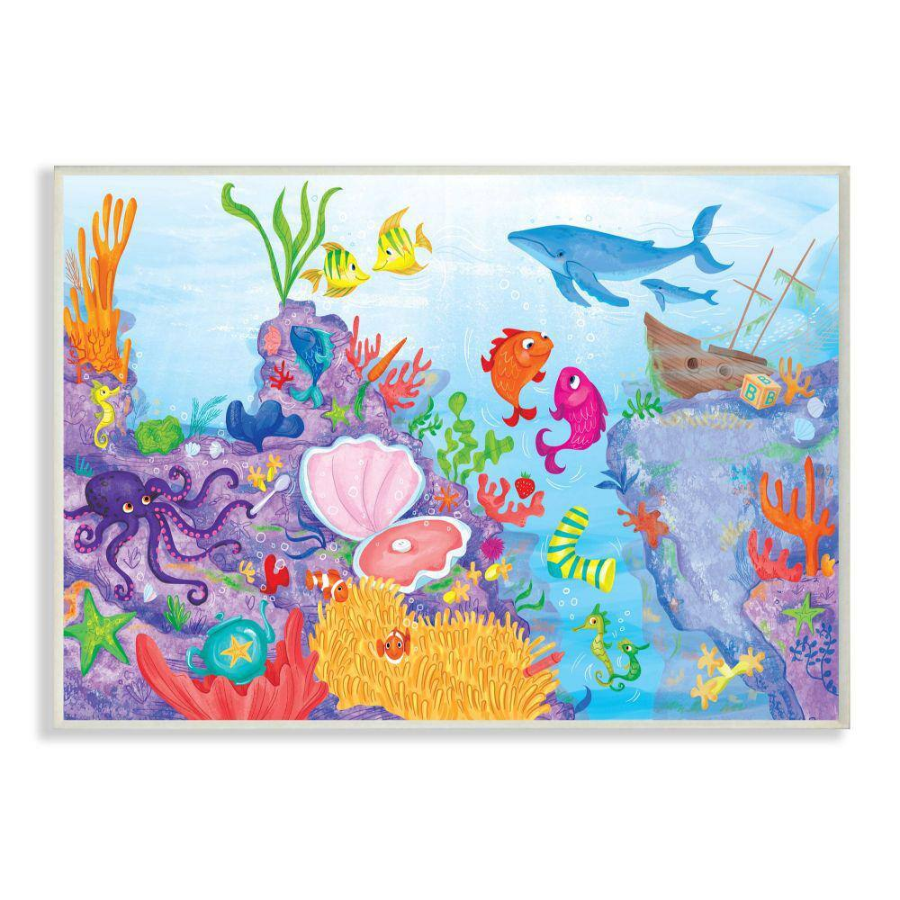 Stupell Industries Colorful Ocean Sea Life Fish Blue Purple Kids Nursery Painting The Saturday Evening Postwood Wall Art 15 In X 10 In Brp 2512 Wd 10x15 The Home Depot