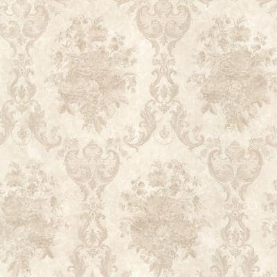 Dutchess Taupe Floral Damask Vinyl Peelable Wallpaper (Covers 56 sq. ft.)