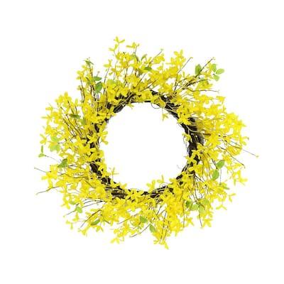 24 in. Artificial Yellow Jasmine Wreath