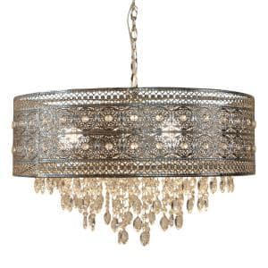 Brielle 3-Light Silver Chandelier with Polished Nickel and Crystal Shade