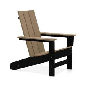 Aria Black and Weathered Wood Recycled Plastic Modern Adirondack Chair