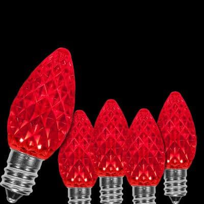 OptiCore C7 LED Red Faceted Christmas Light Bulbs (25-Pack)