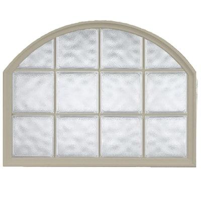 42 in. x 50 in. Acrylic Block Arch Top Vinyl Window in Tan