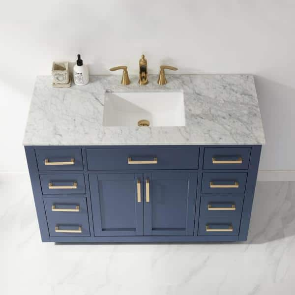 Altair Ivy 48 In Bath Vanity In Royal Blue With Carrara Marble Vanity Top In White With White Basin 531048 Rb Ca Nm The Home Depot