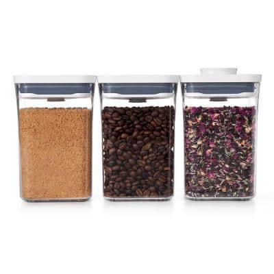Good Grips 1.1 qt. Small Square Short POP Container with Airtight Lids (3-Pack)