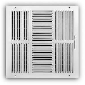14 in. x 14 in. 4-Way Steel Wall/Ceiling Register in White