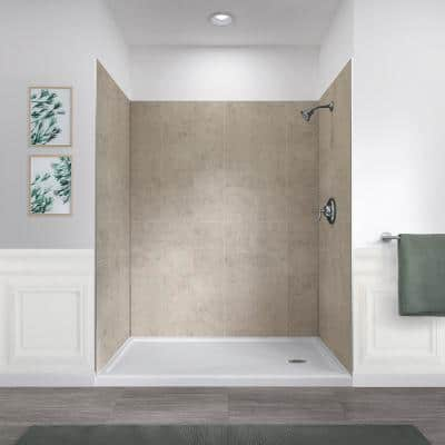 Jetcoat 32 in. x 60 in. x 78 in. 5-Piece Easy-Up Adhesive Alcove Shower Surround in Shale