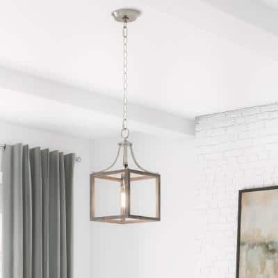 Boswell Quarter 9.44 in. 1-Light Brushed Nickel  Pendant with Painted Weathered Gray Wood Accents