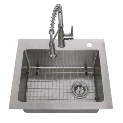 All-in-One Tight Radius Stainless Steel 25 in. 18-Gauge Single Bowl Dual Mount Kitchen Sink with Spring Neck Faucet