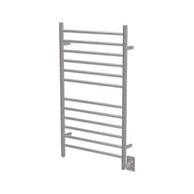 Radiant Large Straight 12-Bar Hardwired Electric Towel Warmer in Brushed Stainless Steel