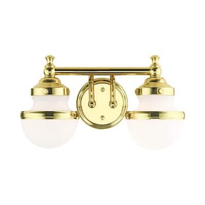 Oldwick 2 Light Polished Brass Vanity Sconce