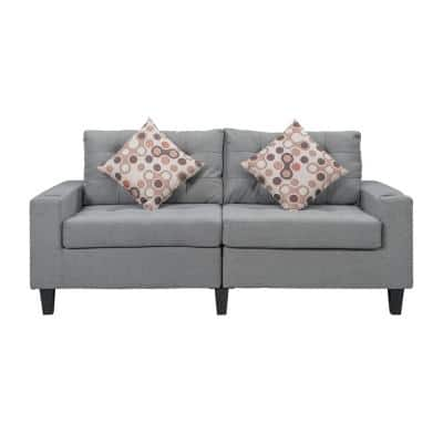 2-Piece Grey Polyester Sofa and Loveseat Set with Tufted Thick Cushions and 2-Tossing Cushions