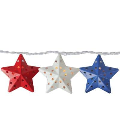 Set of 10 Clear Incandescent Light Red White and Blue Star 4th of July Patio Christmas Lights with White Wire