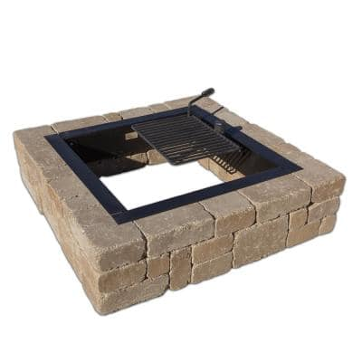 Victorian 48 in. x 12 in. Square Concrete Wood Burning Santa Fe Fire Pit Kit with Cooking Grate
