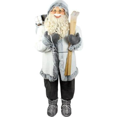 5 ft. Christmas Standing Santa Claus Holding Skis and Wearing a Furry White Jacket with Gray Trim