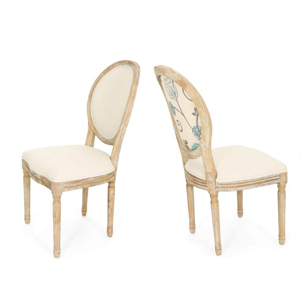 Noble House Phinnaeus Farmhouse Beige Fabric Dining Chairs With Multi Colored Floral Back Design Set Of 2 42418 The Home Depot