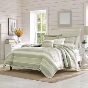 Serenity 5-Piece Green Striped Cotton King Comforter Set