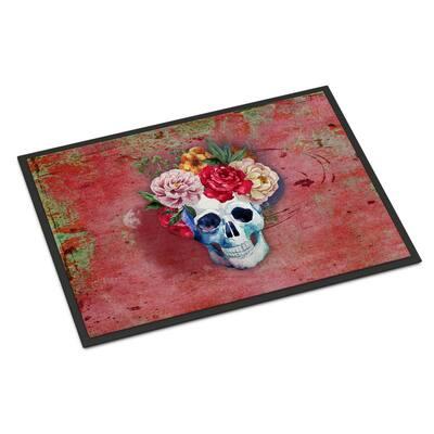 24 in. x 36 in. Indoor/Outdoor Day of The Dead Red Flowers Skull Door Mat