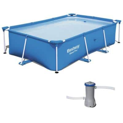 102 in. x 67 in. Rectangular 24 in. D Hard Side Frame Above Ground Pool with Cartridge Filter Pump