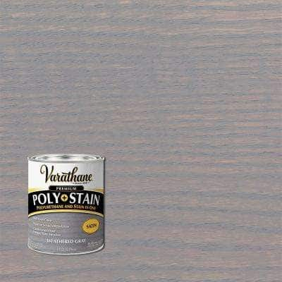 1 qt. Weathered Gray Satin Oil-Based Interior Stain and Polyurethane