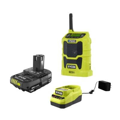 ONE+ 18V Cordless Compact Radio with Bluetooth Wireless Technology with 2.0 Ah Battery and Charger