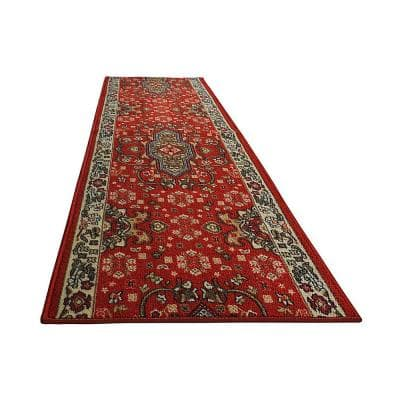 """Isfahan Cut to Size Red Color 32"""" Width x Your Choice Length Custom Size Slip Resistant Rubber Runner Rug"""