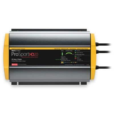 ProSportHD 20 Amp DC Waterproof Battery Charger, 2 Bank