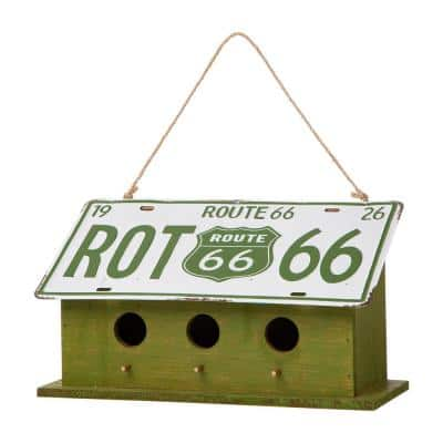 14 in. L Green Wood/Metal Licence Plates Birdhouse