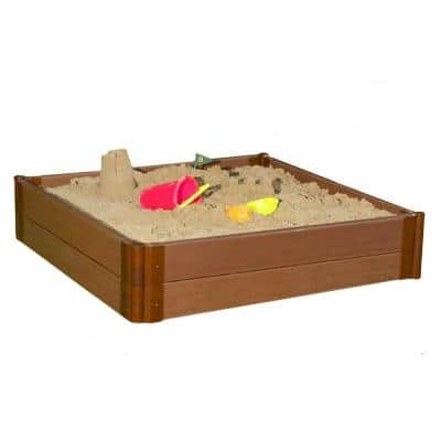 Classic Sienna 1 in. Series 4 ft. x 4 ft. x 11 in. Composite Square Sandbox Kit