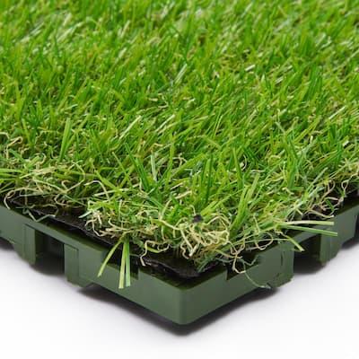 Evergreen 12 in. x 12 in. Green Artificial Turf Interlocking Grass Tiles (6-Pack)