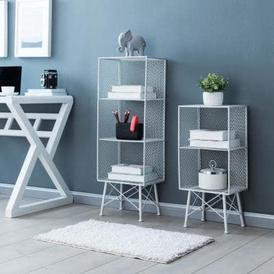 Stylish 39 in. Silver Metal Wire Mesh 3-Shelf Accent Bookcase with Legs (Set of 2)