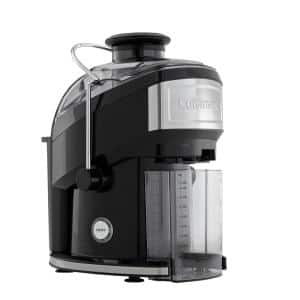 Compact 16 fl. oz. Black Masticating Juicer with Recipe Booklet and Cleaning Brush