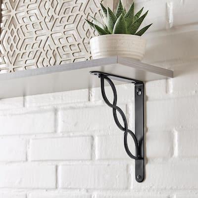 9 in. Black Triple Scroll Decorative Shelf Bracket