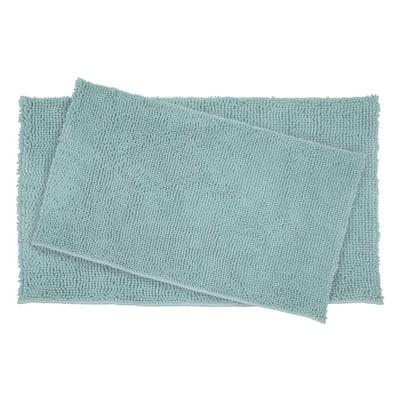 Plush Shag Chenille Aqua 21 in. x 34 in. and 17 in. x 24 in. 2-Piece Bath Rug Set