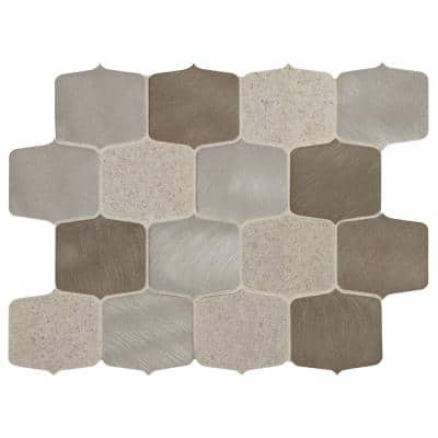 Premier Accents Gray Blend 9 in. x 13 in. x 8 mm Stone and Metal Mosaic Wall Tile (0.75 sq. ft./Each)