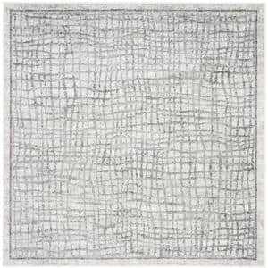 Adirondack Silver/Ivory 8 ft. x 8 ft. Square Abstract Area Rug