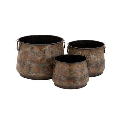 11 in. x 16 in. Brass Metal Rustic Planter (Set of 3)