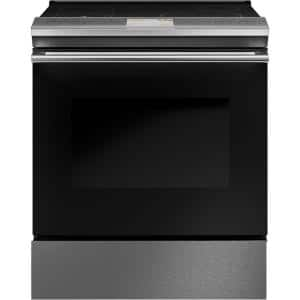 30 in. 5.3 cu. ft. Slide-In Electric Range with Self-Cleaning Convection Oven in Platinum Glass