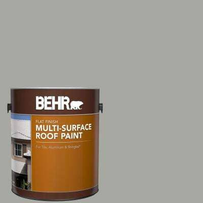 1 gal. #PFC-68 Silver Gray Flat Multi-Surface Exterior Roof Paint