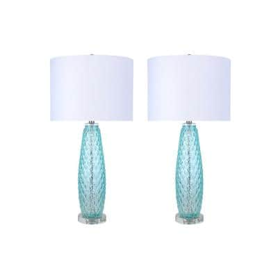 30 in. Blue Turquoise Clear, Glass Table Lamps with Polished Nickel Accents, Crystal Base and White Linen Shades