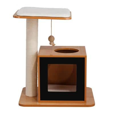 Small Black and Natural Hideaway Cat Condo and Perch Bed