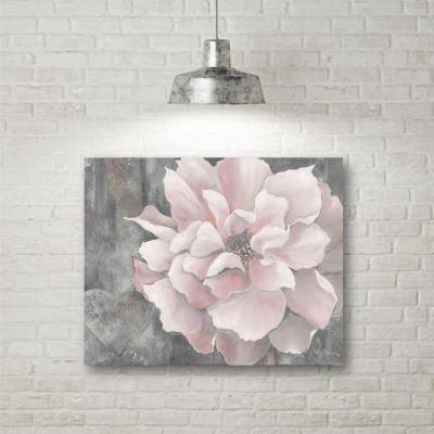 "16 in. x 20 in. ""Pink and Gray Magnolia"" Canvas Wall Art"