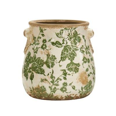 6.5 in. Tuscan Ceramic Green Scroll Planter