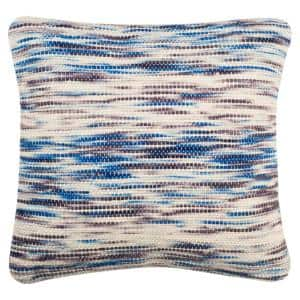 Tight Weave Blue and Multicolored Striped Down Alternative 20 in. x 20 in. Throw Pillow