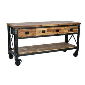 Darby 72 in. W x 24 in. D 3 Drawer Industrial Metal with Wood Mobile Workbench