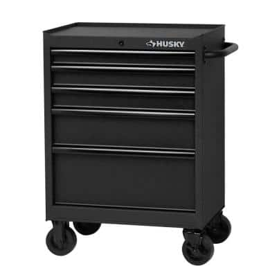 27 in. 5-Drawer Cabinet Roller Cabinet Tool Chest in Textured Black