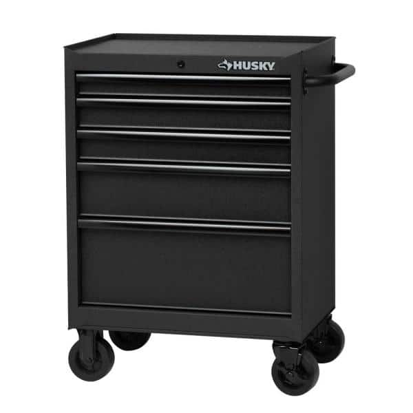 Husky 27 In 5 Drawer Cabinet Roller Cabinet Tool Chest In Textured Black H27tr5tb The Home Depot