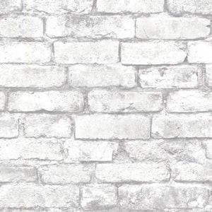 Debs White Exposed Brick White Wallpaper Sample