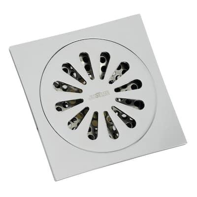 Sunburst 4 in. Square Grid Shower Drain, Chrome